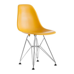 Zuo - Baby Spire Chair, Yellow - The Baby Spire chair fits in every child's room in need of modern, classic style. With a light-weight seat made from ABS and chrome steel base, the Baby Spire serves the function and design.