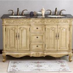 """Virtu USA - Virtu LD-1020 - Tarragona - 58"""" Bathroom Vanity In Antique Ivory - HomeThangs - Virtu LD-1020 - Tarragona - 58"""" Bathroom Vanity In Antique Ivory"""