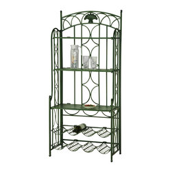 International Caravan - Venice Iron 5-Tier Bakers Wine Rack in Green - Wine and other accessories are not included. Sturdy. UV light fading protection. Premium outdoor weather and rust protection. Can be folded for easy storage. Great addition for your garden, library and kitchen. Made from premium wrought iron. No assembly required. 26 in. W x 14 in. D x 59 in. H (43 lbs.)