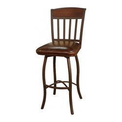 American Heritage - American Heritage Lancaster 24 Inch Counter Height Stool in Ginger Spice - A perfect choice for your new space. The hand painted frame and wood back accent makes this stool a timeless classic. Ease in and out of this stool with the help of the return swivel. What's included: Counter Height Stool (1).