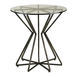 Currey & Company - Charbon Side Table - Stunningly sculptural, this accent table is made in a radial star pattern from metal bars. A glass top allows the pattern to be seen. A dark bronze finish gives the piece a sophisticated feel.