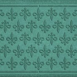 Bungalow Flooring - Aqua Shield 2'x3' Fleur Field Doormat, Aquamarine - Premium 24-oz. anti-static polypropylene mat traps dirt, water and mud.