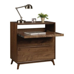 Copeland Furniture - Catalina Laptop Desk by Copeland Furniture - A clean and compact way to get the job done. The Copeland Furniture Catalina Laptop Desk provides both storage with its two drawers and a space-saving workspace in the form of a retractable laptop tray. This trim and attractive unit is made entirely out of solid American black walnut protected by a clear low sheen top coat. Founded in 1976 by Tim Copeland, Copeland Furniture specializes in the production of fine natural hardwood furniture. Continual evolution in Copeland Furniture designs have yielded new and exciting takes on classic Arts & Crafts, Shaker and Scandinavian bedroom, living room, office and dining room furniture. All Copeland Furniture pieces are designed and made at their manufacturing facility located on the banks of the Connecticut River in Bradford, Vermont.