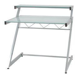 Euro Style - Z Deluxe Desk Small + Shelf - Aluminum/Frosted Glass - The Z's are the structural sidebars of this remarkably strong desk.  Top and main shelves are durable tempered glass and the cross bar is reinforced with angled spars.  Perfect for heavy thinking.