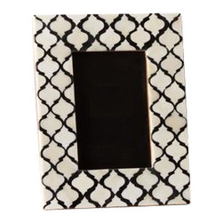 Black and White Bone Frame, Large, Fits 5x7 Photo - These frames are handcrafted with an intricate black and white bone inlay in a gorgeous Moroccan pattern.