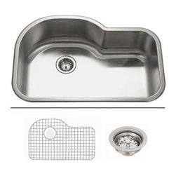 """TCS Home Supplies - 32 Inch Undermount Offset Single Bowl Kitchen Sink with Accessories - Undermount Stainless Steel Kitchen Sink Value Package. Offset Single Bowl. Sink comes with Ball Point Basket Strainer! Dimensions 31-1/2"""" x 20-1/2"""" x 9"""". 18 Gauge Stainless Steel. Brushed Satin Stainless Steel Finish."""