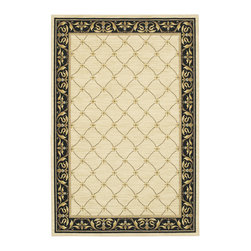 "Karastan - Karastan Sierra Mar 35505-33013 (Marie Lousi Ivory Black) 5'6"" x 8'3"" Rug - Comfortable, weathered, easy to live with color, is the signature style of the Sierra Mar collection, with relaxed patterns that complement both traditional and modern design. Woven in the U.S.A., the pure New Zealand worsted wool yarns have been specially twisted and space-dyed to create artful color 'stria' reminiscent of fine hand woven 'Peshawar' rugs."
