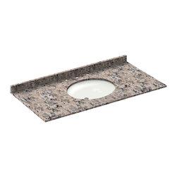 LessCare - 49x22 Burlywood Granite Vanity Countertops - 8 Faucet Spread - *Condition: New