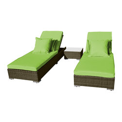 "Reef Rattan - Reef Rattan 3 Piece Malibu Chaise Lounger Set - Natural Rattan / Green Cushions - Reef Rattan 3 Piece Malibu Chaise Lounger Set - Natural Rattan / Green Cushions. This patio set is made from all-weather resin wicker and produced to fulfill your needs for high quality. The resin wicker in this patio set won't fade, shrink, lose its strength, or snap. UV resistant and water resistant, this patio set is durable and easy to maintain. A rust-free powder-coated aluminum frame provides strength to withstand years of use. Sunbrella fabrics on patio furniture lends you the sophistication of a five star hotel, right in your outdoor living space, featuring industry leading Sunbrella fabrics. Designed to reflect that ultra-chic look, and with superior resistance to the elements in a variety of climates, the series stands for comfort, class, and constancy. Recreating the poolside high end feel of an upmarket hotel for outdoor living in a residence or commercial space is easy with this patio furniture. After all, you want a set of patio furniture that's going to look great, and do so for the long-term. The canvas-like fabrics which are designed by Sunbrella utilize the latest synthetic fiber technology are engineered to resist stains and UV fading. This is patio furniture that is made to endure, along with the classic look they represent. When you're creating a comfortable and stylish outdoor room, you're looking for the best quality at a price that makes sense. Resin wicker looks like natural wicker but is made of synthetic polyethylene fiber. Resin wicker is durable & easy to maintain and resistant against the elements. UV Resistant Wicker. Welded aluminum frame is nearly in-destructible and rust free. Stain resistant sunbrella cushions are double-stitched for strength and are fully machine washable. Removable covers made with commercial grade zippers. Tables include tempered glass top. 5 year warranty on this product. Chaise Lounger (2): W 34"" D 83"" H 14"", Coffee Table: W 18"" D 18"" H 14"""