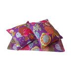 Purple Kantha Stitch Cushion Cover - These colourful Indian kantha cushion covers are printed in a vibrant fruit and floral design. Matching item for Kantha Stitch printed throw/bedspread.