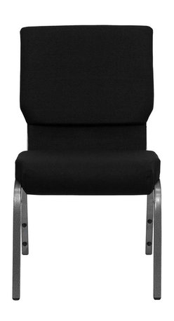 "Flash Furniture - Hercules Series 18.5"" Wide Black Stacking Church Chair with 4.25"" Thick Seat - This Hercules Series Church Chair will add elegance and class to any Church, Hotel, Banquet Room or Conference setting. If you are looking for a chair with comfort and style that is easy to move and stores away with ease, then look no further. This built to last chair has a 16-gauge steel frame that has been tested to hold 600 lbs. This church chair features double support bracing, ganging clamps, a cushion that graduates to a 4.25 in.  thick waterfall edge and plastic floor glides to protect non-carpeted floors. Our church chair is manufactured by one of the most reputable stack chair manufacturers in the industry, you can be assured of the quality of this chair offered to you."