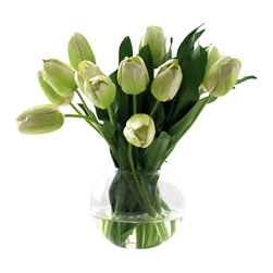 Jane Seymour Botanicals - Tulip Bubble Bowl - Skip the trip to the florist. Enjoy the look of fresh-cut flowers each day with this delightful arrangement of pale green permanent tulips set in a glass ball vase with water illusion. This lifelike botanical display is every bit as beautiful as the real thing, and a whole lot more convenient.