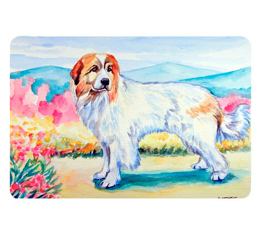Caroline's Treasures - Great Pyrenees Kitchen Or Bath Mat 20X30 - Kitchen or Bath COMFORT FLOOR MAT This mat is 20 inch by 30 inch.  Comfort Mat / Carpet / Rug that is Made and Printed in the USA. A foam cushion is attached to the bottom of the mat for comfort when standing. The mat has been permenantly dyed for moderate traffic. Durable and fade resistant. The back of the mat is rubber backed to keep the mat from slipping on a smooth floor. Use pressure and water from garden hose or power washer to clean the mat.  Vacuuming only with the hard wood floor setting, as to not pull up the knap of the felt.   Avoid soap or cleaner that produces suds when cleaning.  It will be difficult to get the suds out of the mat.