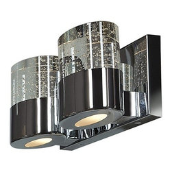 Access Lighting - Bubbles 2-lt Solid Crystal Vanity with Opal Glass Downlight - Bubbles 2-lt Solid Crystal Vanity with Opal Glass Downlight