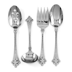Ginkgo Crusader Stainless Hammered Finish Flatware Hostess Set - Set of 4 - There is something so very regal about the Ginkgo Crusader Stainless Hammered Finish Flatware Hostess Set - Set of 4. Dare we say this serving set is fit for a king and queen? Yes, we dare! Crafted from high-quality stainless steel, this 4-piece set is dishwasher safe and has been polished to perfection. Your serve.About Ginkgo International LtdGinkgo International Ltd. was founded in 1977 by Wes and Janet Helmick. Their goal was to bring to the market original, quality flatware designs at the best possible price. Now a second generation family business, Ginkgo continues to offer consumers the highest quality flatware and cutlery products at the best possible value.