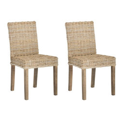 Safavieh - Grove Side Chair (Set Of 2 ) - Natural rattan takes a traditional dining shape and gives it a new organic lease on life in the Grove side chair. Shown with grey transparent textured finish on legs and crafted of rattan and mango wood, Grove is easy-going enough for the beach, yet smart enough for contemporary chic settings.
