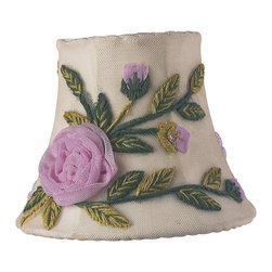 Jubilee Collection - Chandelier Shade - Rose Net Flower - Ivory - Material: silk, metal. 3 x 5 x 4 in.
