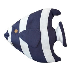 Handcrafted Nautical Decor - Blue Tropical Fish Pillow 18'' - This charming Blue Tropical Fish Pillow 18'' combines the    atmosphere of the sea along with the body of a fish to round out our beach throw pillow. This beach pillow is the perfect accent to spruce up your beach home. Place this fish pillow in   your home to show   guests your affinity for sealife  decor.--Dimensions: 18'Long x 5'Wide x 15'High----    Handcrafted by our master artisans--    Wonderful nautical throw pillow - in the shape of a fish--         --    Blue and white stripes are the perfect nautical colors to accent beach theme throw pillow--