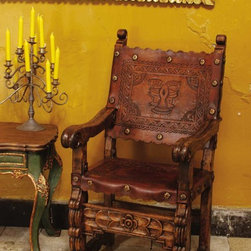 """Tooled leather back and seat Spanish colonial arm chair - BC-CHR-03-ARM: This handsome hand-tooled leather back and seat arm chair measures 26"""" W x 27 1/8"""" D x 44"""" H, and is based on an antique Spanish colonial chair from Peru. Amazingly comfortable, the width, depth and pitch on this chair are perfect."""