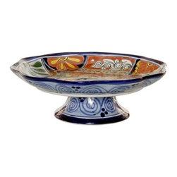 Mexican Talavera - Mexican Talavera Footed Fruit Bowl, Design D - Mexican Talavera Footed Fruit Bowl - Design D