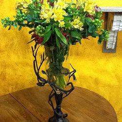 Wrought Iron Fruitwood Vase -