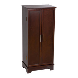Mele Jewelry - Mele and Co. Lynwood Jewelry Armoire in Dark Walnut - Mele Jewelry - Jewelry Armoires - 00913S13