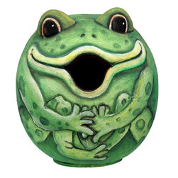 Songbird Essentials - Frog Gord-O Birdhouse - Songbird Essentials adds color and whimsy to any garden with our beautifully detailed wooden birdhouses that come ready to hang under the canopy of your trees. Hand-carved from albesia wood, a renewable resource, each birdhouse is hand painted with non-toxic paints and coated with polyurethane to protect them from the elements. By using all natural and nontoxic components Songbird Essentials has created a safe environment complete with clean-out for our feathered friends.