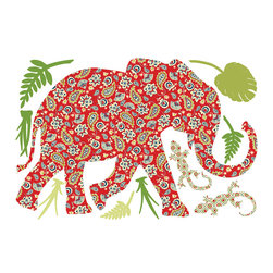 """WallPops - Mabuza The Elephant Zoowallogy Wall Decal - It's a jungle in here with Mabuza the Elephant and these tropical foliage wall decals. This WallPops wall art kit stars Mabuza, a beautiful elephant in a fun paisley design, joined by her lizard friends and fun leaf accents. This Mabuza the Elephant ZooWallogy comes on a 26"""" x 39"""" sheet with lots of other fun pieces to help you make your own fun safari adventure. Mabuza the Elephant is repositionable and totally removable."""