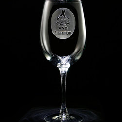 Crystal Imagery, Inc. - Keep Calm and Fight On, Breast Cancer Wine Glass - Breast Cancer Ribbon Awareness Engraved Wine Glass