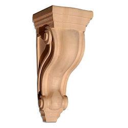 "Inviting Home - San Louis Small Corbel - Cherry - wood corbel in cherry 7-1/8""H x 3-5/8""D x 3-5/8""W Corbels and wood brackets are hand carved by skilled craftsman in deep relief. They are made from premium selected North American hardwoods such as alder beech cherry hard maple red oak and white oak. Corbels and wood brackets are also available in multiple sizes to fit your needs. All are triple sanded and ready to accept stain or paint and come with metal inserts installed on the back for easy installation. Corbels and wood brackets are perfect for additional support to countertops shelves and fireplace mantels as well as trim work and furniture applications."