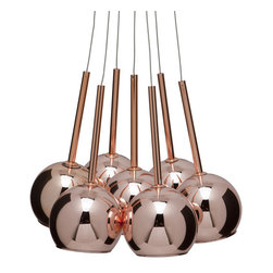 "Sadie copper pendant lamp - Sadie copper pendant lamp, 7 globes each glass shade is 5.5"" x 4.75"""