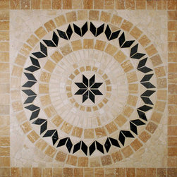 "Glass Tile Oasis - Arrow Medallion Cream/Beige Medallion Series Tumbled Stone - Sheet size: 36"" x 36"""