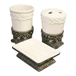 Drake Design - Drake Design Cream Bathroom Accessory Set - Cream Bathroom Accessory Set