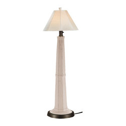 Patio Living Concepts - Patio Living Concepts Nantucket 60 Inch Floor Lamp w/ White Base & Canvas Linen - 60 Inch Floor Lamp w/ White Base & Canvas Linen Shade belongs to Nantucket Collection by Patio Living Concepts Distressed white resin lamp base highlights this stylish outdoor lamp. Two level dimming switch and 12' weatherproof cord and plug. Unbreakable polycarbonate waterproof bulb enclosure allows the use of a standard 100 watt light bulb. Lamp (1)