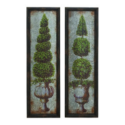 Benzara - Beautiful Set of 2 Framed Wall Panels Painted Designs Accent Decor 20247 - Beautiful set of 2 framed wall panels with painted designs of potted topiary shrubs and aged finish home accent decor