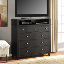 Altra Furniture Winslow Media Storage Chest in Espresso Finish - The Winslow Media Storage Chest provides a bedroom height TV Stand with lots of storage. Keep your DVD player or cable box in the open shelf and with the wire management holes you will keep your cords organized.