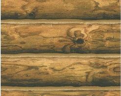 York - Ch7980 Mountain Logs Lodge Wood Stripe Wallpaper - CH7980 Mountain Logs from Lake Forest Lodge is a wallpaper that looks like a log cabin.