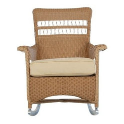 Lloyd Flanders Nantucket All-Weather Wicker Porch Rocker - Take life a little easier with theLloyd Flanders Nantucket All-Weather Wicker Porch Rocker. This classic rocking chair features a sturdy design with comfy arms and aluminum rocking base. Plush cushioning on the seat makes porch-time that much more enjoyable. An all-weather resin wicker construction offers lasting durability with the help of aluminum wire reinforcement. Finish and color options available.About Lloyd/FlandersCarrying on the traditions of Marshall B. Lloyd, Lloyd/Flanders brings the sophistication of timeless furniture designs to a sophisticated, modern audience. Using modern production processes and materials, these classic styles are faithfully rendered in a way that can be enjoyed by customers anywhere with high-quality construction and reliable, all-weather designs.