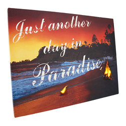 Zeckos - Flickering LED Just Another Day in Paradise Canvas Wall Hanging - This beautiful canvas depicts a beach at sunset, and with the flip of a switch, flickering LED lights bring the flames of the fires to life. It measures 12 inches tall, 16 inches long, 3/4 of an inch thick, and has 2 hanging slots cut into the wooden frame so it easily mounts to any wall. The flickering lights are powered by 2 AA batteries (not included), are controlled by an inconspicuous on/off switch on the side of the canvas, and unsightly wires are concealed and contained by the vinyl backing. This piece is a lovely accent in bedrooms, living rooms, and dining rooms, and makes a wonderful gift for a friend.