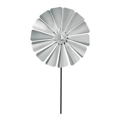 Blomus - Viento Stainless Steel Large Pinwheel - Metal ground stake included. For indoor or outdoor use. Provides a whimsical garden accessories. Made of 18/8 stainless steel. Designed by Susanne Augenstein. Traditional style. Manufacturer's defect warranty. Minimal assembly required. 11.85 in. Dia. x 52.73 in. H
