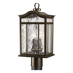 Progress Lighting - Progress Lighting P5468-108 Meadowlark Three-Light Post Lantern with Casual - 3-Light Post Lantern with Casual European style finished in Oil Rubbed Bronze. Features unique arched roof, top ribbon scrolled loops with arching arms and shepherd's crook.Features:
