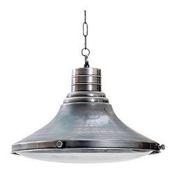 Industrial Metro Light - This line of industrial lights have a great heft and feel, I could definitely see this in a kitchen, over an island or table. I really love the unusual flared shape, and I prefer lights with lenses to diffuse the light when working at an island.