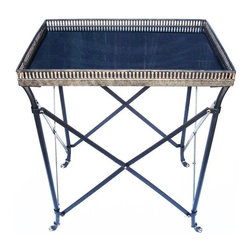 """Used Granite Top Rectangular Side Table - This side table has a cool Campaign style with the elegant aged-look bronze metal and classic lion feet. The granite has a beautiful shine to it and it is just the right size for a lamp and a book and a drink. It has gold highlights on the rim and feet. 25"""" H x 21"""" W x 14"""" deep"""