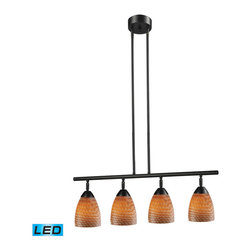 ELK - ELK 10153/4DR-C-LED Billiard/Island - Designed To Showcase Our Many Blown Glass Options, The Celina Collection Utilizes A Simplified Frame That Embellishes The Shape And Color Of The Glass.  Finished In Polished Chrome Or Dark Rust. - LED, 800 Lumens (3200 Lumens Total) With Full Scale Dimming Range, 60 Watt (240 Watt Total)Equivalent , 120V Replaceable LED Bulb Included