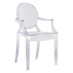 Lemoderno - Louis Ghost Style Arm Chair by Lamoderno, Clear, Qty 1 - In spite of the evanescent and crystalline impression, strong resistant to blows, scratch-proof and weatherproof; as many as six pieces can be piled up. With a strongly charismatic character and outstanding aesthetic appeal, this chair fits perfectly into every home or public area with elegance and irony.