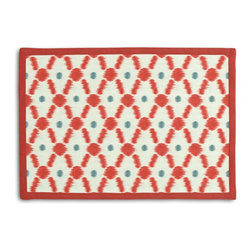 Red Diamond Dot Ikat Tailored Placemat Set - Class up your table's act with a set of Tailored Placemats finished with a contemporary contrast border. So pretty you'll want to leave them out well beyond dinner time! We love it in this diamond trellis with a twist of contemporary ikat-like heathering. a modern accent in cherry red & aqua blue.