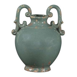 Howard Elliott Glossy Aged Blue Glaze Ceramic Urn with Handles - This rustic ceramic urn is finished in a glossy aged light blue glaze and features ornate handles on the top.