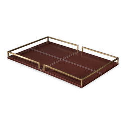Kathy Kuo Home - Yvonne Hollywood Regency Brown Leather Tray - Large - Like a great pair of bridle leather boots, this brown leather and brass framed tray goes with just about everything.  White contrast topstitching adds an extra touch of luxury. A perfect piece for a vanity tabletop, stylish bar or as a the foundation of a lovely tabletop display.