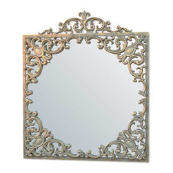 """Pontalba Mirror - The Pontalba mirror is an excellent example of refined style and amazing craftsmanship. The cast aluminum frame supports a mirror generously encircled with stately details and subtle embellishments that all come together to create a fabulous pulled together look. Combining elements from past and present, the Lamani collection brings exciting panache to your decor. Hand made to order, some customization is available for an up-charge in price. Dimensions: 29.25"""" x 35"""""""