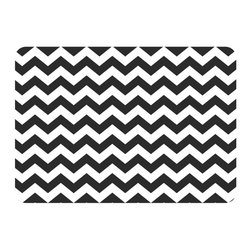 Bungalow Flooring - Premium Comfort Chevron Kitchen Mat, Ebony - Woven polyester face captures colors and graphics in near photographic quality.